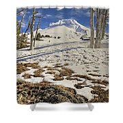 Snow Covered Mount Hood In Oregon Shower Curtain