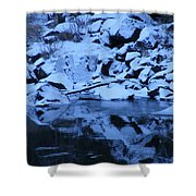 Snow Covered River Rocks Shower Curtain
