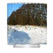 Snow Covered Riverbed Shower Curtain