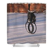 Snow Covered Rocking Horse Swing Shower Curtain