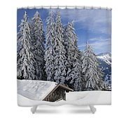 Snow Covered Trees And Mountains In Beautiful Winter Landscape Shower Curtain