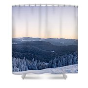 Snow Covered Trees On A Hill, Belchen Shower Curtain