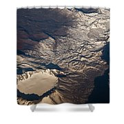 Snow Covered Volcano Showing Caldera Shower Curtain