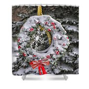 Snow Covered Wreath Shower Curtain