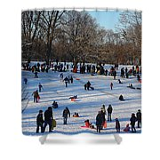 Snow Day - Fun Day At The Park Shower Curtain