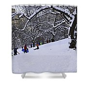 Snow Day In The Park Shower Curtain