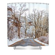 Snow Dusted Colorado Scenic Drive Shower Curtain