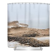 Snow Fog At Whitefish Point Shower Curtain