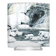 Snow Formations At Bottom Of Bond Falls Shower Curtain