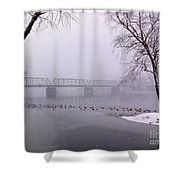 Snow From Lewis Island Bridge Shower Curtain