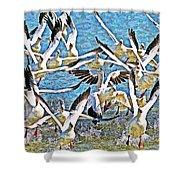 Snow Geese Panic Shower Curtain
