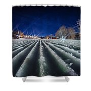 Snow Groomed Trail At A Ski Resort At Night Shower Curtain