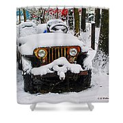 Snow Jeep Shower Curtain