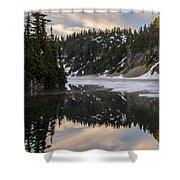 Snow Lake Last Fog Shower Curtain