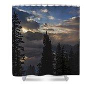Snow Lake Sunset Shower Curtain