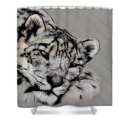 Snow Leopard Digital Art Shower Curtain