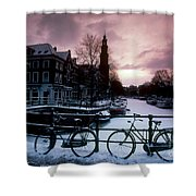 Snow On Canals. Amsterdam, Holland Shower Curtain