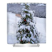 Snow On Christmas Tree Shower Curtain