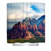 Snow On Red Rocks Shower Curtain