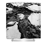 Snow On Rock Bw Shower Curtain