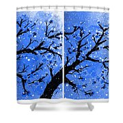 Snow On The Blue Cherry Blossom Tree Shower Curtain
