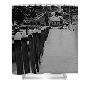 Snow On The Docks Shower Curtain