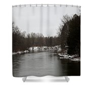 Snow On The Manistee River Shower Curtain
