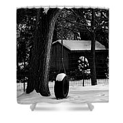 Snow On Tire Swing Shower Curtain