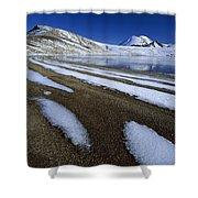 Snow Patterns Near Blue Lake Mt Shower Curtain