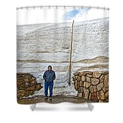 Snow Piles At Alpine Visitor's Center In Rocky Mountain National Park-colorado Shower Curtain