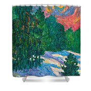 Snow Pines Shower Curtain
