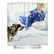 Snow Play Sadie And Andrew Shower Curtain by Carolyn Coffey Wallace
