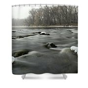 Snow Rapids Shower Curtain