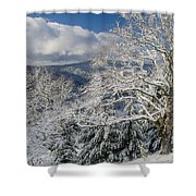 Snow Scene At Berry Summit Shower Curtain