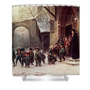 Snow Scene  Children Leaving School Shower Curtain