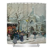 Snow Scene In Paris Shower Curtain by Eugene Galien-Laloue