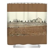 Snow-showered Shower Curtain
