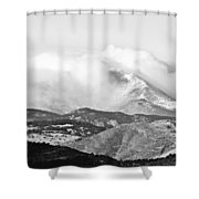Snow Storm On The Twin Peaks Longs And Meeker Shower Curtain