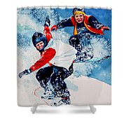 Snowboard Psyched Shower Curtain