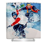 Snowboard Super Heroes Shower Curtain