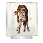Country Life Winter Baby Calf Shower Curtain