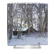 Snowed Cabin Shower Curtain
