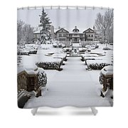 Snowfall At Longview Mansion Shower Curtain