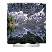 Snowfield Reflection On Blue Lake  Shower Curtain