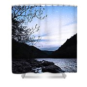 Snowflakes On The River Shower Curtain