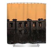 snowie sunset in Macon Shower Curtain