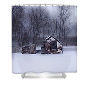 Snowing At Narcissa Road Springhouse Shower Curtain