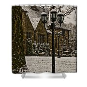 Snowing At Stokesay Castle Shower Curtain