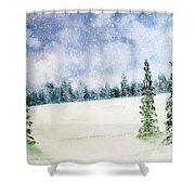 Snowing In Christmas Shower Curtain