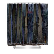 Snowing In The Ice Forest At Night Shower Curtain